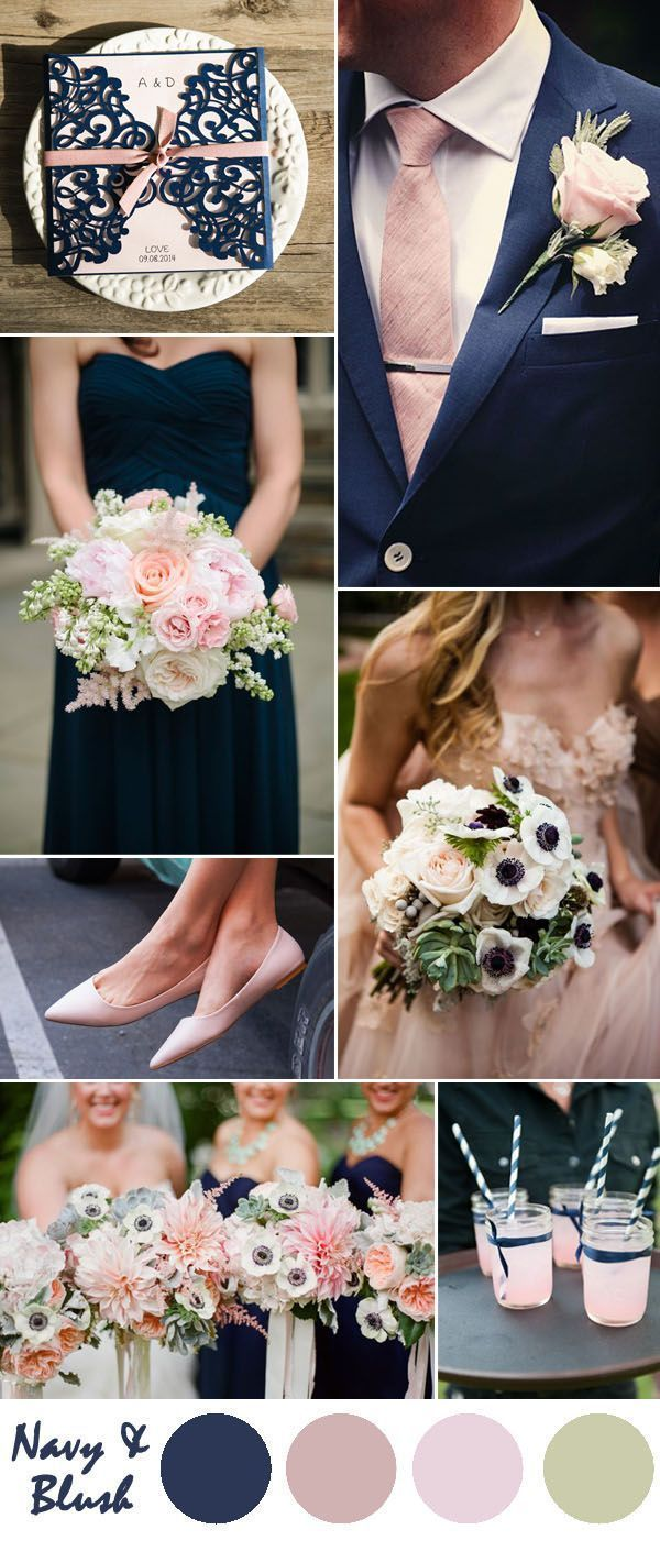 navy blue and blush pink wedding color inspiration More