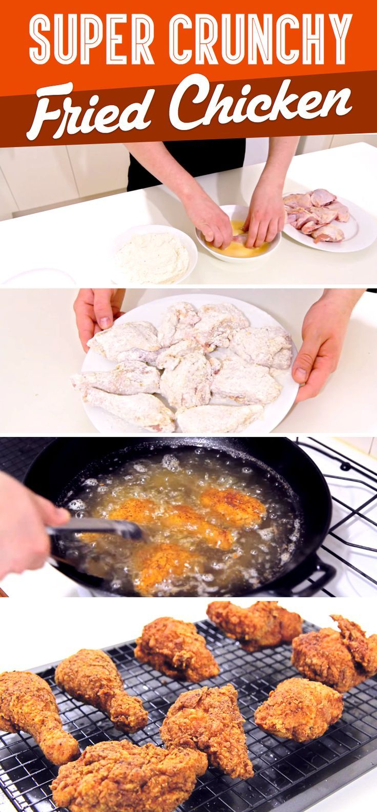 Homemade extra crispy fried chicken! Perfect for your next family dinner.