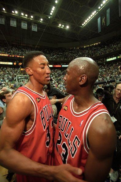 NBA Finals Closeup of Chicago Bulls Michael Jordan victorious hugging Scottie Pippen after winning Game 6 and championship series vs Utah Jazz at...