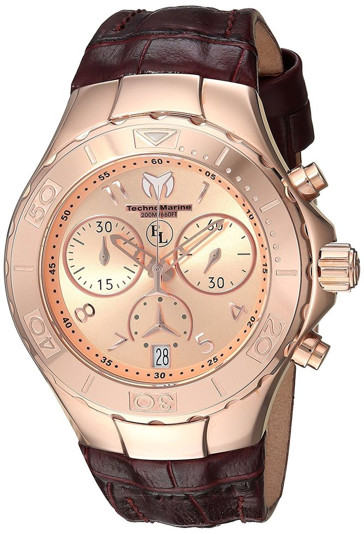 Technomarine Eva Longoria Chronograph Rose Gold Stainless Steel Dark Brown Strap Women's Watch TM-416035