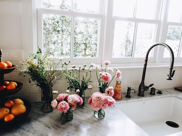 blooms by the sink