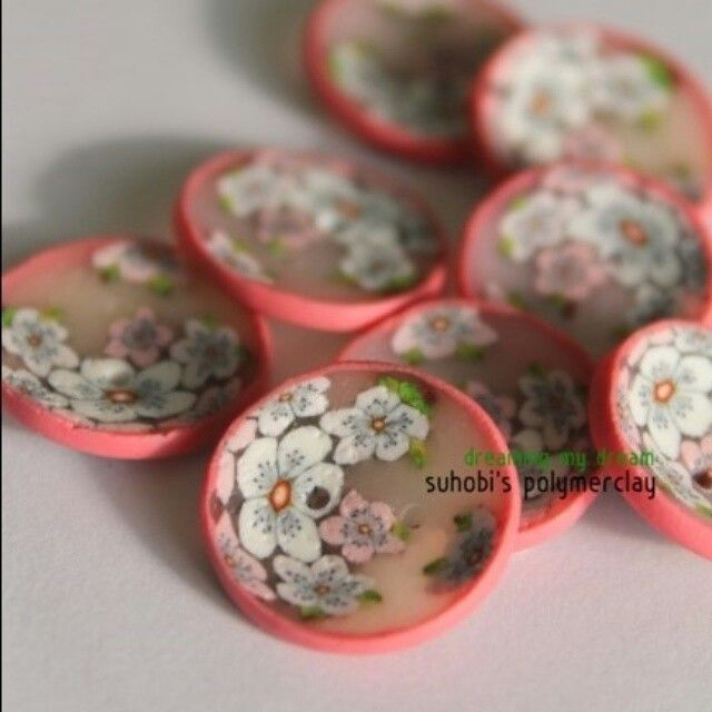 Cherry blossoms polymerclay buttons