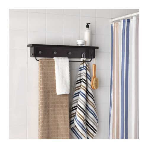 HJÄLMAREN Vešiak na uteráky/polica - čierno-hnedé moridlo, - - IKEA
