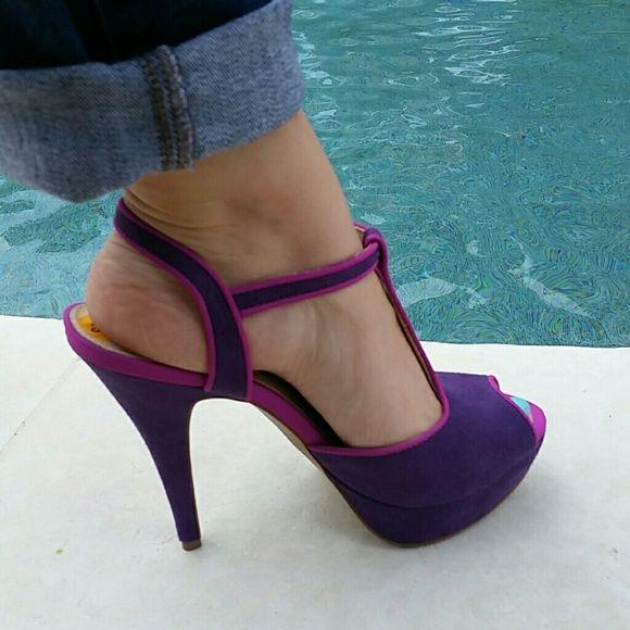 Elle Purple/Magenta Peep-Toe Strappy Heels Beautiful Purple & Magenta peep-toe stacked heels by Elle.  Brand New.  Make an offer. Elle Shoes Heels