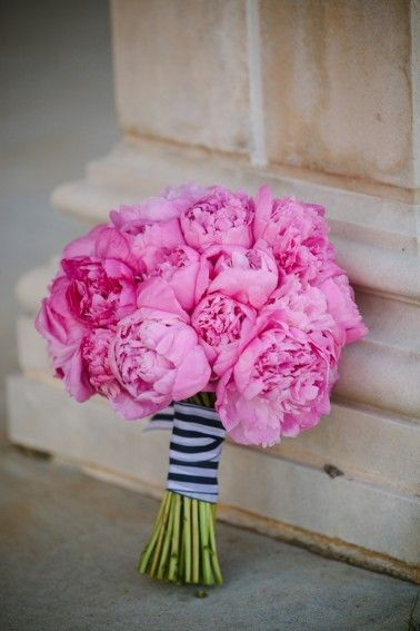 Pink peony bouquet with navy and white stripe wrap