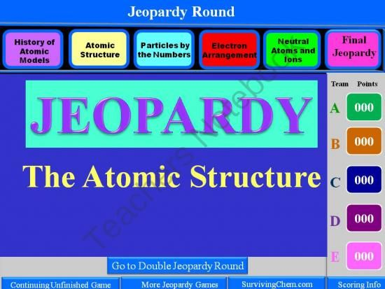 Atomic Structure Review: Interactive 2-Round Jeopardy Game ...