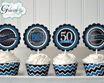 50th Birthday Water Bottle Labels 50th Birthday by GracenLDesigns