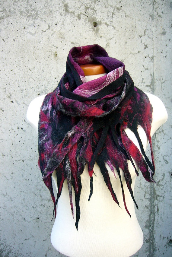 Scarf Felted Plum Loganberry Nuno Felted by TheFeltingPenguin, $39.00: Fashion Forward, Felted Scarf, Plum Loganberry, Scarf Felted, Felted Plum, Loganberry Nuno