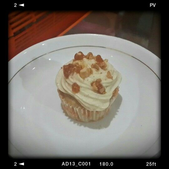 Apple beer cupcake with cream cheese frosting and cashew toffee crumble