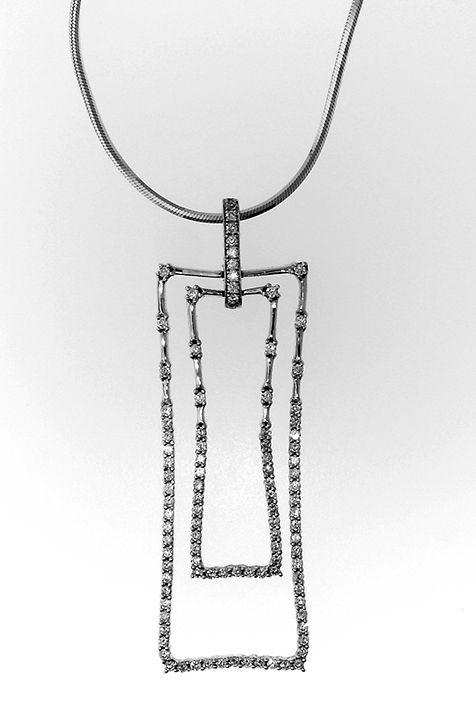 18k white gold modern rectangular frame pendant selling price .85ct tw asking $1500