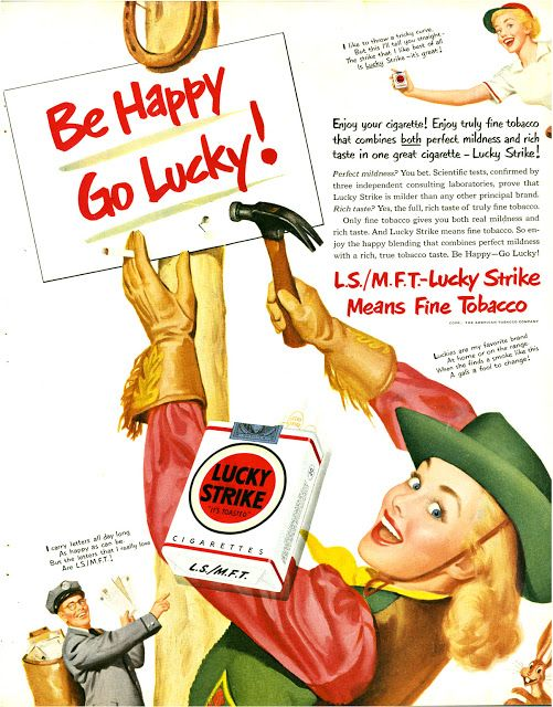 the appeal of vintage tobacco advertisements Youth are three (3) times as more sensitive to tobacco ads than adults  vintage  ad for lucky strikes with runners  to limit youth access to tobacco products, as  well as restrictions on marketing, to curb the appeal of these products to youth.
