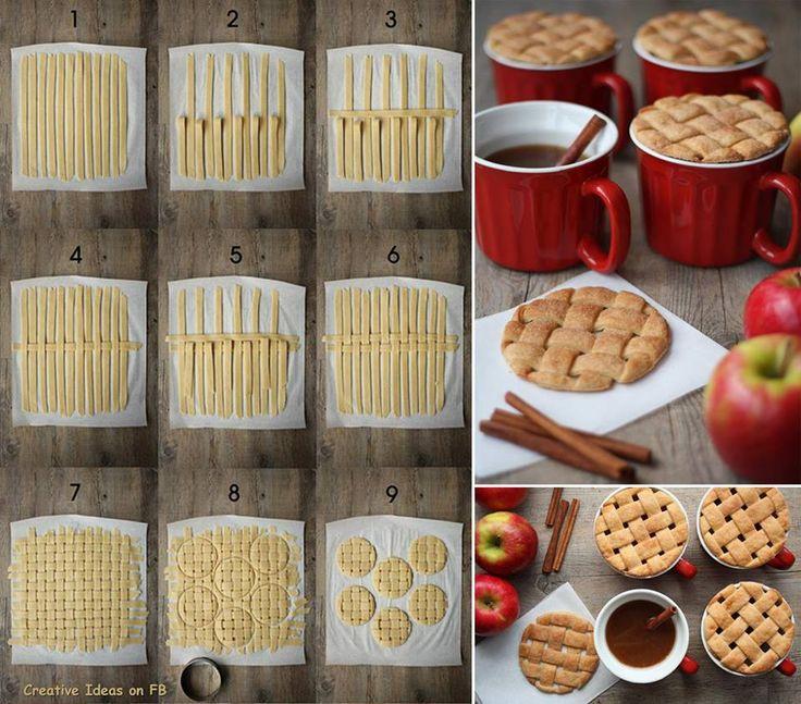 how to make Pie Crust Mug Toppers step by step DIY tutorial instructions torta decorada