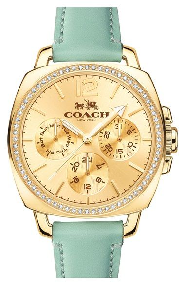 COACH 'Boyfriend' Small Crystal Bezel Leather Strap Watch, 34mm available at #Nordstrom