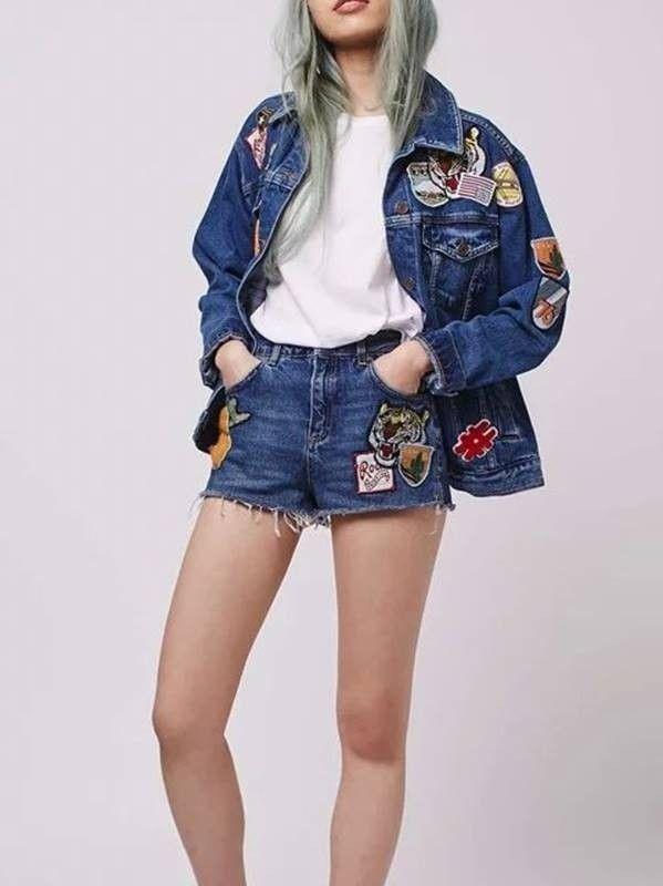 Short Jeans com Patches - Compre Online