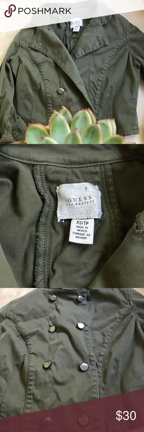 Guess olive green jacket Worn once! In perfect like new condition Guess Jackets & Coats Blazers