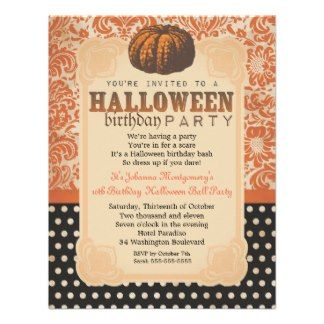 Halloween Vintage Damask Old Paper Birthday Party Personalized Invite