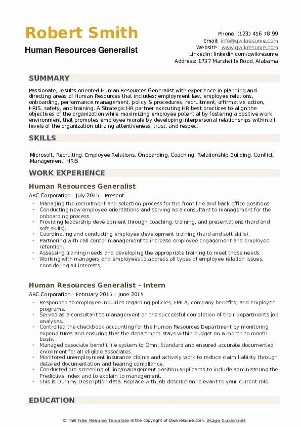 Objective For Human Resources Resume Fresh Human Resources Human Resources Resume Resume Objective Human Resources
