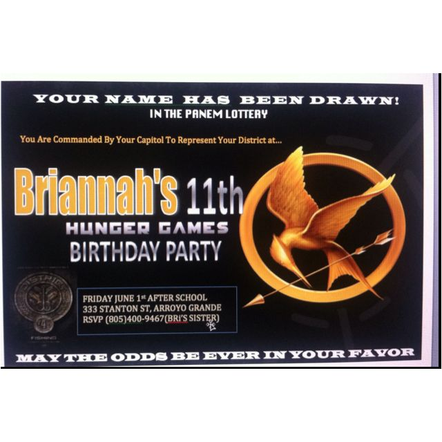 Hunger Games Birthday Party Invitation Ideas