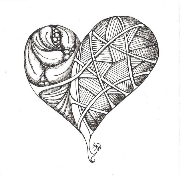 Tangle doodle heart by susanwalkerart, via Flickr