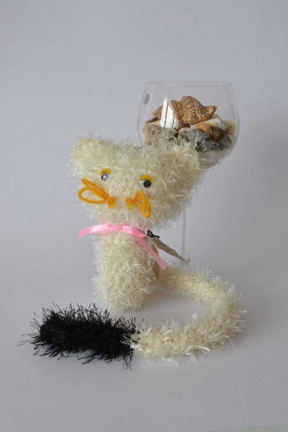 White Cat Stufed Cat Toy Cat With Long Tail Soft Toy Animal Lovers