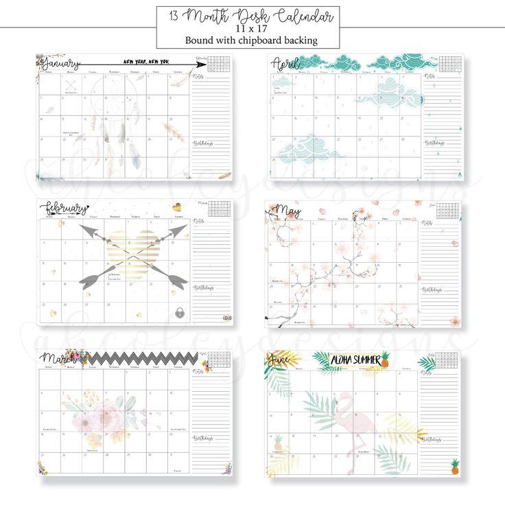 2018 Desk Calendar, Desk Planner, 2018 Calendar, 2018 Calendar Desk, 2018 Calendar 11x17, 13 Months,