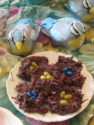 Rice Krispy birds covered in Marshmallow Fondant with macroon bird nests  Tea With Lavera