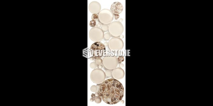 Ensuite feature tile.  Glasshell GS04 Mixed Bubbles Glossy Mosaic Border | EVERSTONE Australia