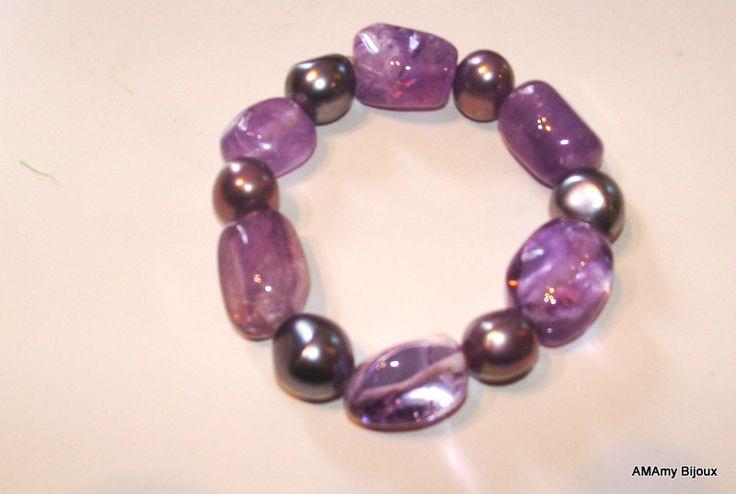 Bracciale in Ametista Light  e perle di AMAmy Bijoux  su DaWanda.com