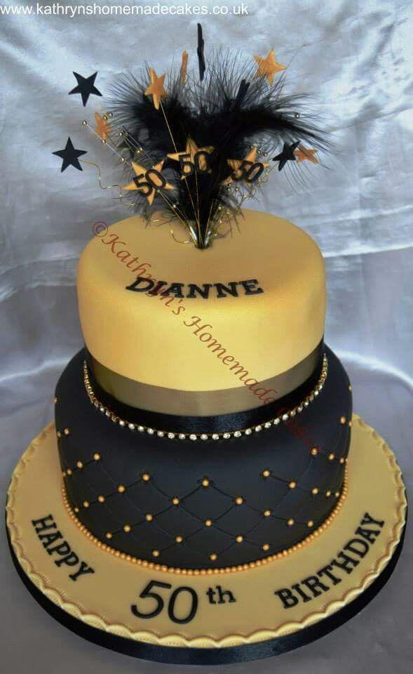 Black Amp Gold 50th Birthday Cake Adult Birthday Cakes In