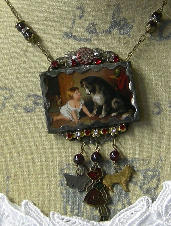 Soldered+Glass+Assemblage+Charm+Necklace++Dr.+by+Vintagearts,+$65.00