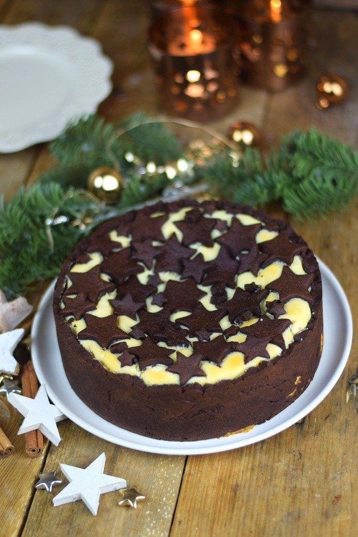 Winterlicher Zupfluchen mit Sternen - Chocolate Cheesecake