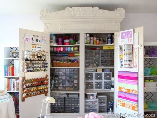 Armoire completely outfitted for sewing/craft room storage and supplies - amazing!