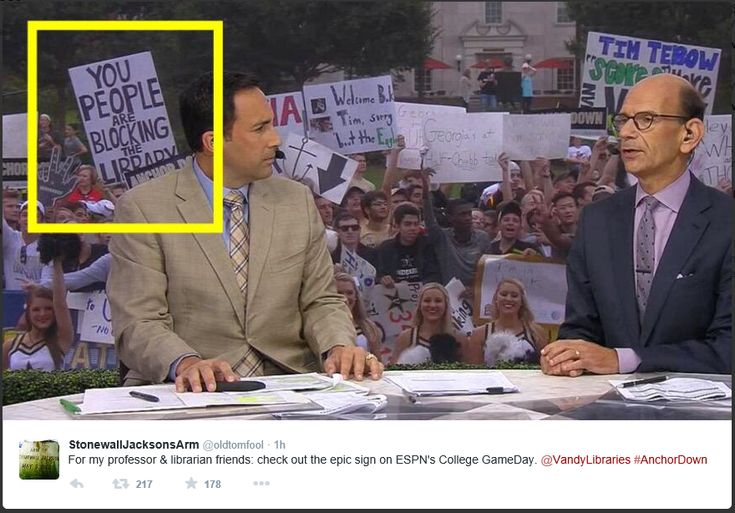 """Some people just want to see the world learn"" -- Sign on ESPN's ""College GameDay"" -- SH: Love it!!"
