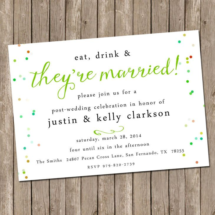 9 best PostReception Invitations images on Pinterest Elopement