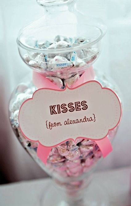Have a jar filled with every member of your Bridal Party's favorite candy then tag it with a cute saying from who its from! I like this idea for the dessert bar  ***baby shower, siblings & cousins fave candy on the note!!  SO cute!