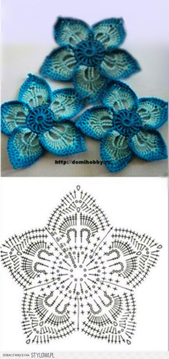 Just the diagram. Lots of beautiful crocheted flowers on this page. Page is in Russian.