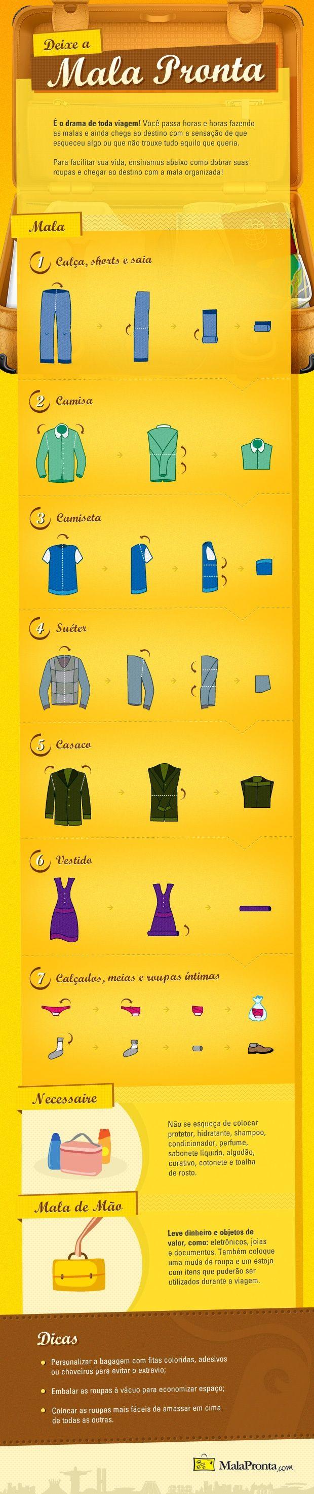 Infográfico para facilitar a sua vida. Ensinamos como dobrar suas roupas e chegar ao destino com a mala organizada!: