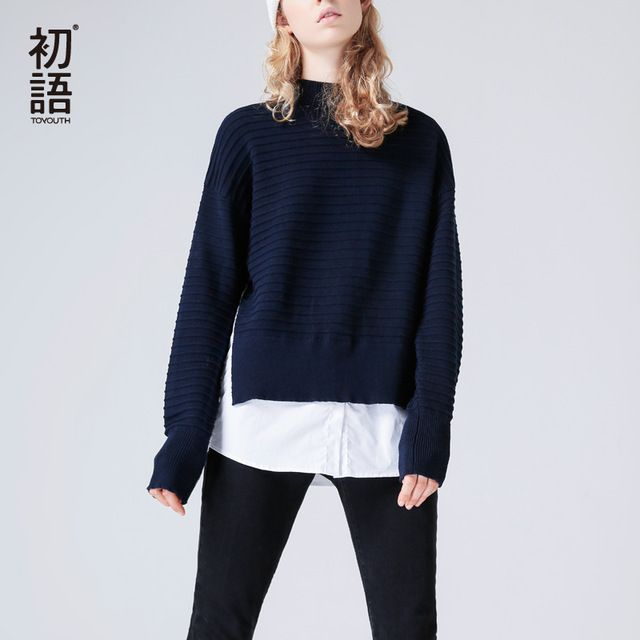 Toyouth Knitted Sweater 2017 Autumn Women Casual Solid Color Loose Fake Two Pieces High Collar Pullover Sweater #Toyouth #sweaters #women_clothing #stylish_sweater #style #fashion