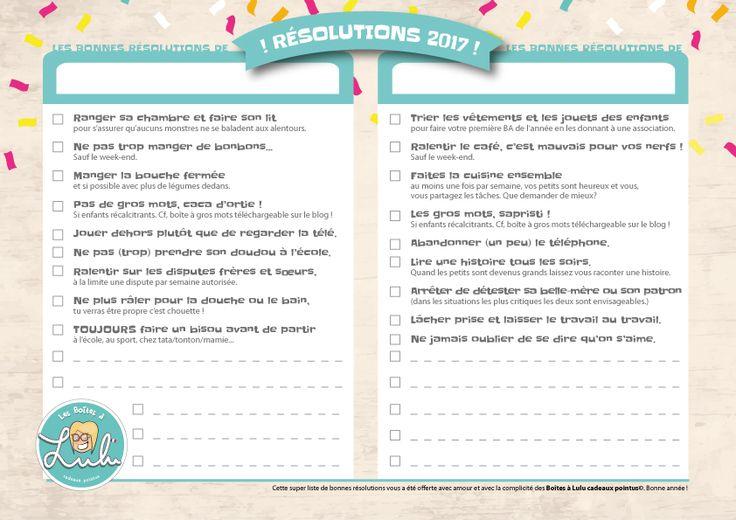 Les bonnes résolutions à télécharger sur le blog de Lulu !