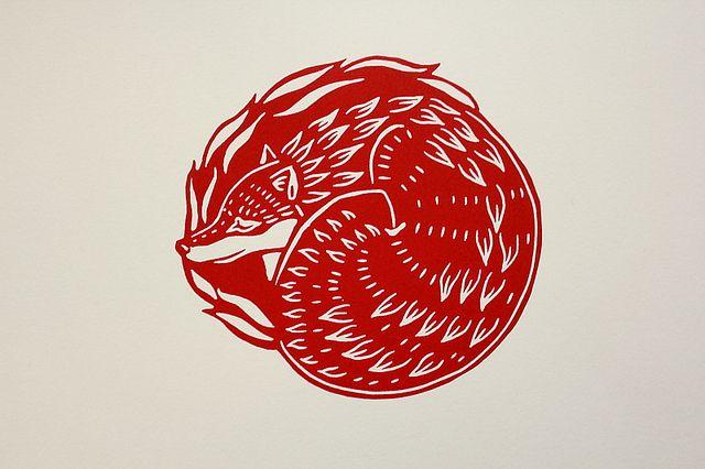 """Sleeping Fox"" Linocut by Jane Beharrell. http://www.janebeharrell.com/ Tags: Linocut, Cut, Print, Linoleum, Lino, Carving, Block, Woodcut, Helen Elstone, Animals, Fox."
