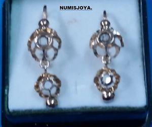 Año 1920/30. Pendientes de oro 18 Ktes. y zafiros blancos. Peso 1,37 gr. 20 mm. in Relojes y joyas, Vintage y joyería antigua   eBay