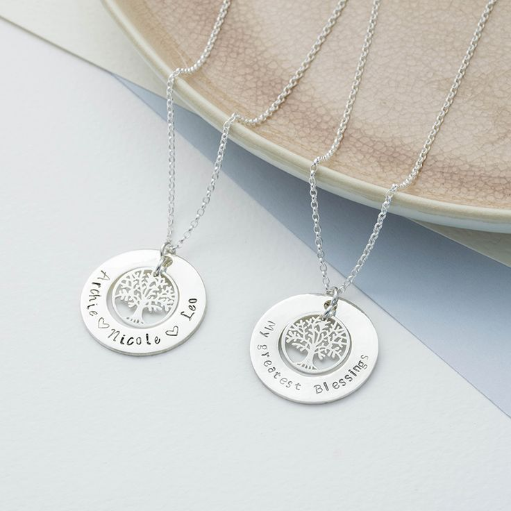 Personalised Childrens Names Sterling Silver Family Tree Necklace