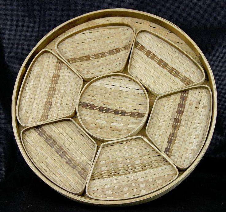 "Vintage Round Bamboo Tiki Tropical  Serving Tray & Coasters Or Sushi Tray 14""   | eBay"