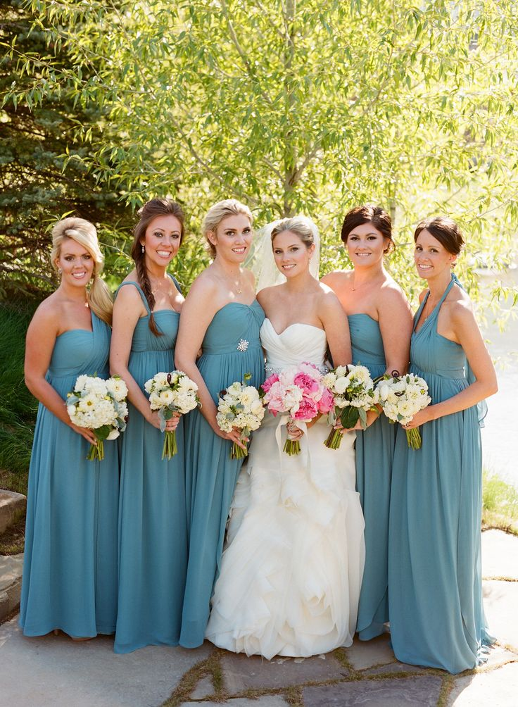 Jenny Yoo Aidan Dress in Turkish Blue Pretty Color - Bridesmaids Dresses on http://www.StyleMePretty.com/northwest-weddings/2014/03/24/jackson-hole-wedding-at-shooting-star/ CarriePattersonPhotography.com on #SMP