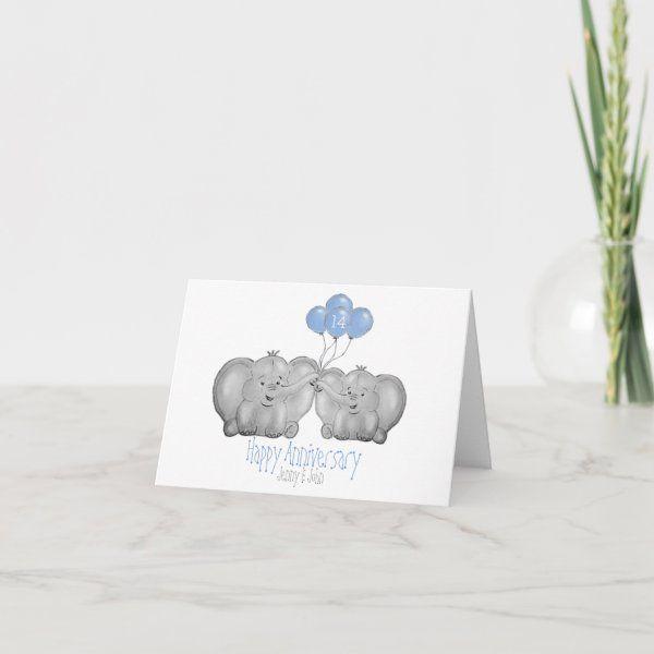 14th Ivory Wedding Anniversary Elephant Card Zazzle Com Elephant Anniversary Card Wedding Anniversary Cards Happy Anniversary Cards