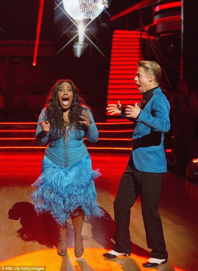 "Amber Riley reacts when she is announced as the new Dancing With The Stars champion (""DWTS"")"