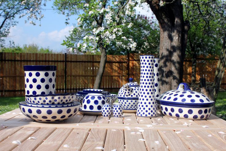 Traditional handmade Polish Pottery from town Boleslawiec.
