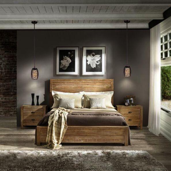 Bedroom Rustic, Grain Wood Furniture Montauk Queen Solid Panel Bed Rustic Walnut