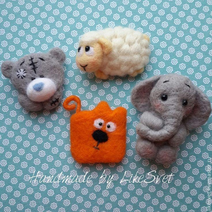 Брошки ручной работы из овечьей шерсти - мишка,мишка тедди,мишка ручной работы