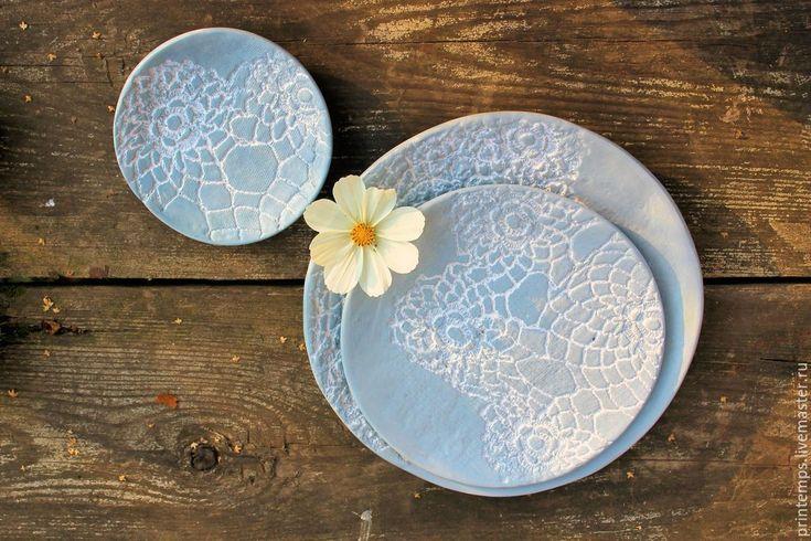 Купить Набор Керамический Кружево - голубой, Набор тарелок, кружева, голубой цвет, кружевной декор